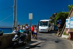 Bus from the station to the village, Corniglia, Italy