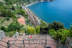 Stairway to the station, Corniglia, Italy