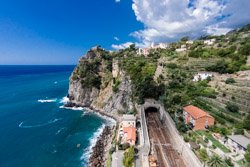 The view of the station and stairway by drone, Corniglia, Italy