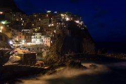 View from the promenade at night, Manarola, Italy