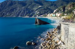 The beach in springtime, Monterosso, Italy